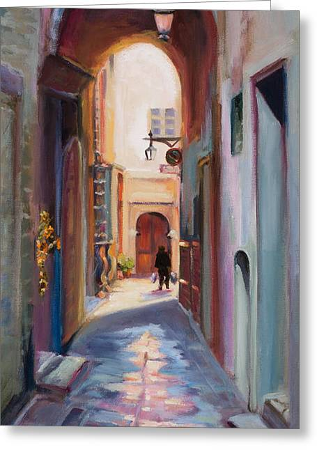 View Down A Street In Cortona Greeting Card by Jane Woodward