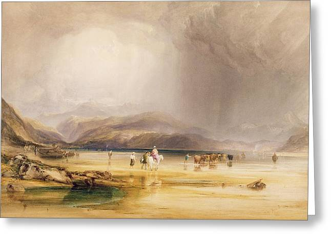 View From Snowdon From Sands Of Traeth Mawe Greeting Card by Anthony Vandyke Copley