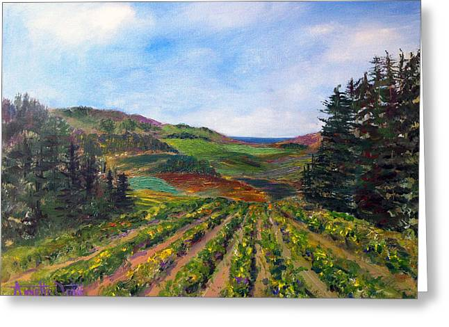View From Soquel Vineyards Greeting Card by Annette Dion McGowan