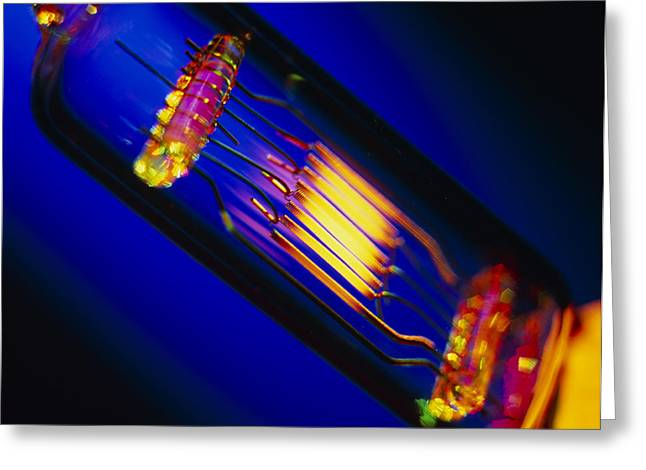 View Of A Lit Technical Electric Light Bulb Greeting Card by Tek Image