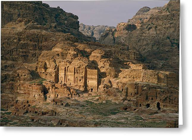 View Of A Number Of Nabataean Tombs Greeting Card