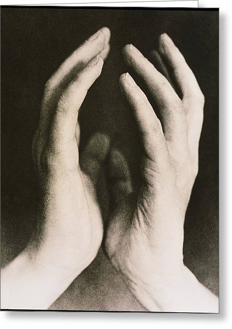 View Of A Woman's Hands Held Together Greeting Card by Cristina Pedrazzini