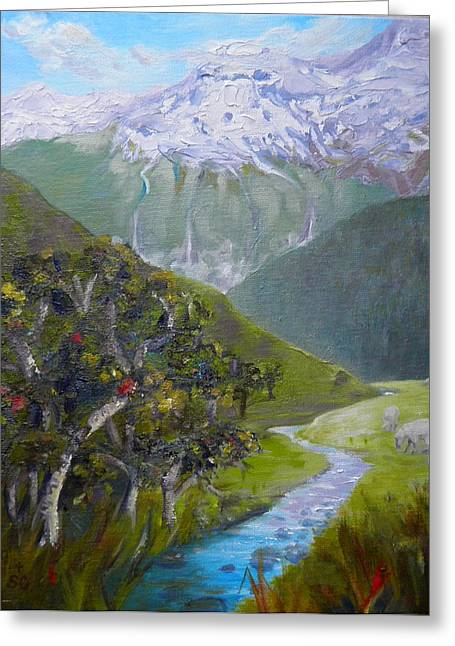 View Of Chinamans Bluff Nz Greeting Card