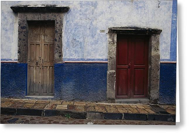 View Of Doorways In San Miguel De Greeting Card