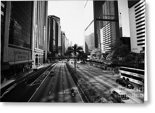 View Of Gloucester Road Wan Chai Canyon Like Street Surrounded By Skyscrapers Hong Kong Greeting Card