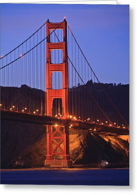 View Of Golden Gate Bridge At Dusk San Greeting Card by Stuart Westmorland