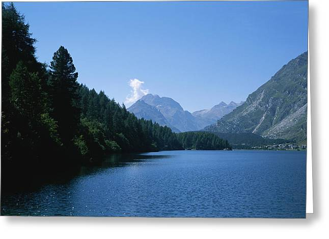 View Of Lake Segl Greeting Card by Taylor S. Kennedy