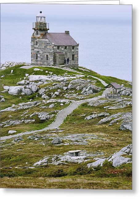 View Of Lighthouse, Rose Blanche Greeting Card by Yves Marcoux