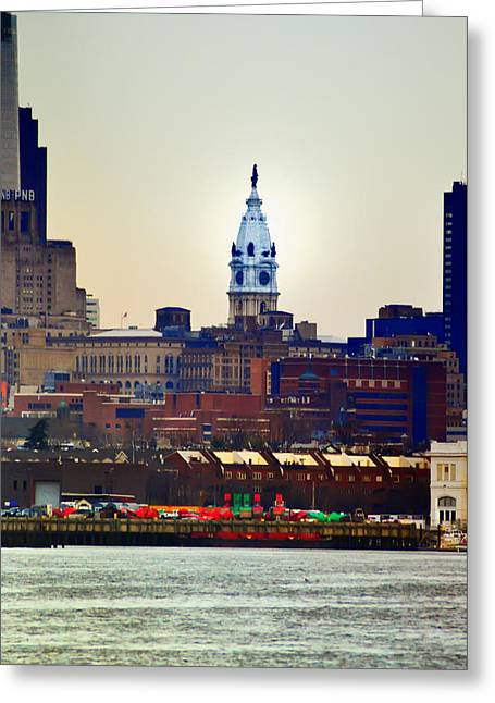 View Of Philadelphia City Hall From Camden Greeting Card by Bill Cannon