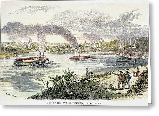 View Of Pittsburgh, 1853 Greeting Card by Granger