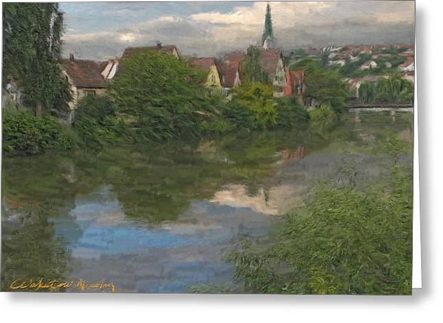 View Of The Cathedral In Rottenburg On Neckar Greeting Card by Nikolay Vakatov