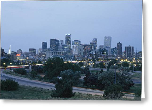 View Of The Denver Skyline At Twilight Greeting Card by Richard Nowitz
