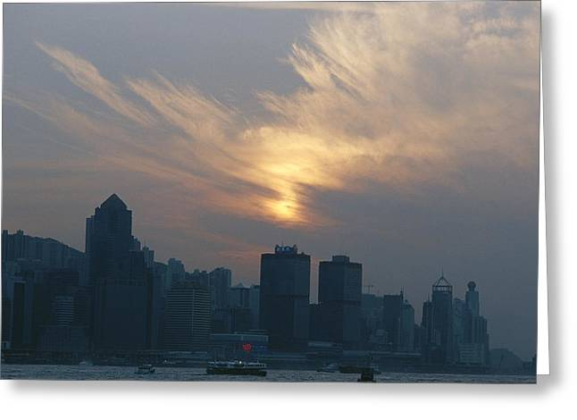 View Of The Hong Kong Skyline At Sunset Greeting Card by Raul Touzon