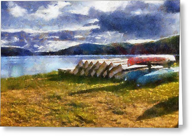 Greeting Card featuring the painting View Of The Lake From Camp Dorset by Mario Carini