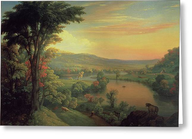 View Of The Mohawk Near Little Falls Greeting Card by Mannevillette Elihu Dearing Brown