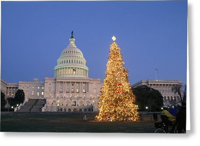 View Of The National Christmas Tree Greeting Card by Richard Nowitz