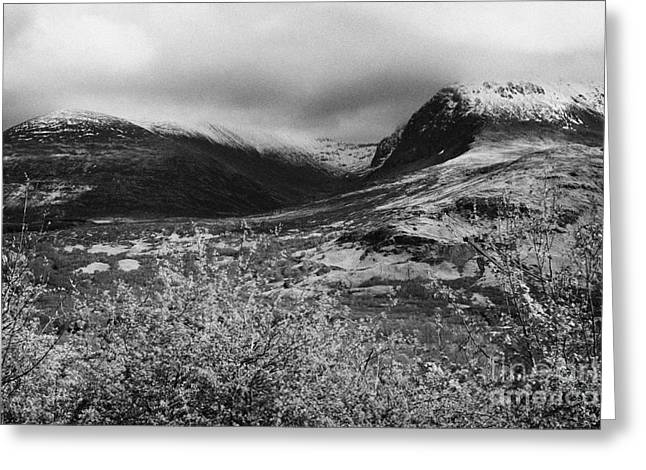View Of The Summit Of Ben Nevis Snow Capped And Shrouded In Mist In Spring Near Fort William Scotlan Greeting Card by Joe Fox
