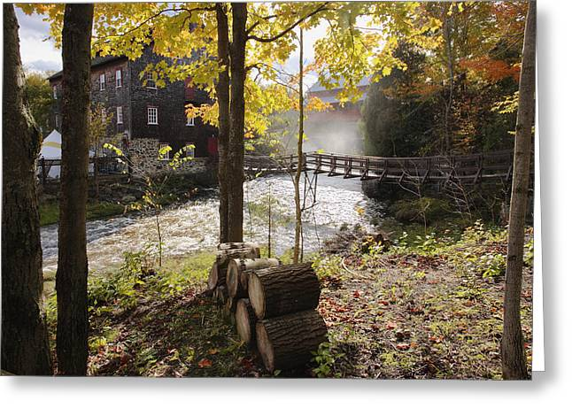 View Of Ulverton Wool Mill, Eastern Greeting Card by Yves Marcoux