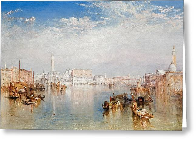 View Of Venice The Ducal Palace Dogana And Part Of San Giorgio Greeting Card by Joseph Mallord William Turner