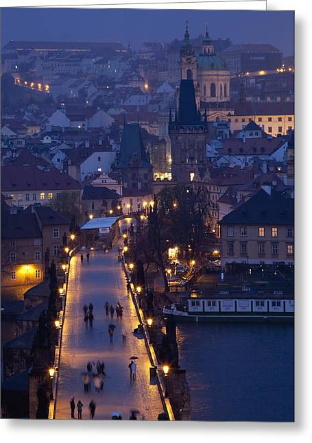 View Over The Charles Bridge Towards Greeting Card by Axiom Photographic