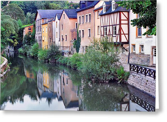 Village Reflections In Luxembourg I Greeting Card by Greg Matchick