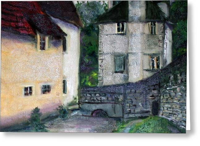 Greeting Card featuring the painting Village Scene by Rosemarie Hakim