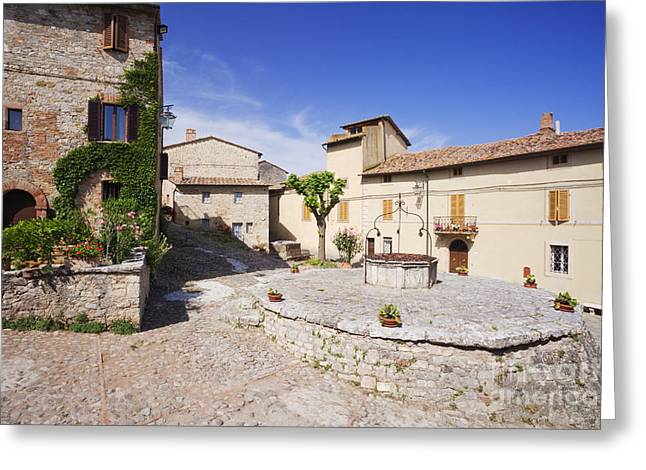 Village Square And Well At Rocca Dorcia Greeting Card