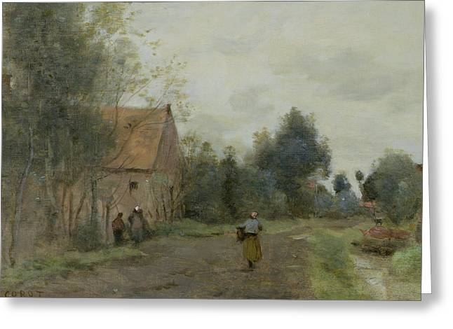 Village Street In The Morning Greeting Card by Jean Baptiste Camille Corot