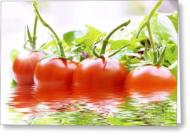 Vine Tomatoes And Salad With Water Greeting Card by Simon Bratt Photography LRPS