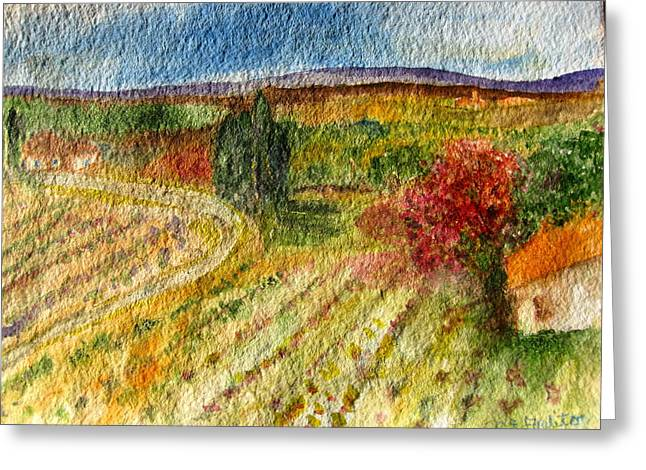 Greeting Card featuring the painting Vineyard In Provence by MaryAnne Ardito