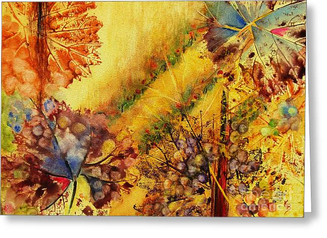 Greeting Card featuring the painting Vineyard by Karen Fleschler