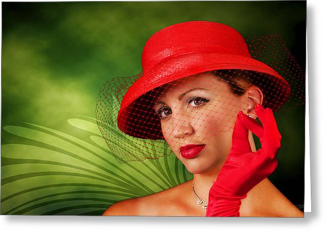 Vintage - Red Hat Lady Greeting Card by Trudy Wilkerson