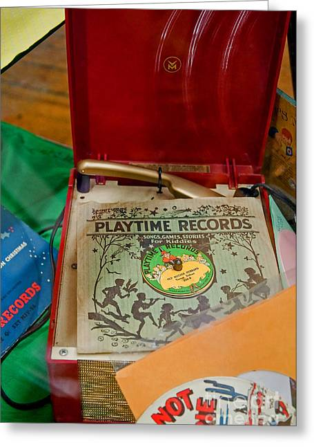 Greeting Card featuring the photograph Vintage 45 Record Player And Record Albums by Valerie Garner
