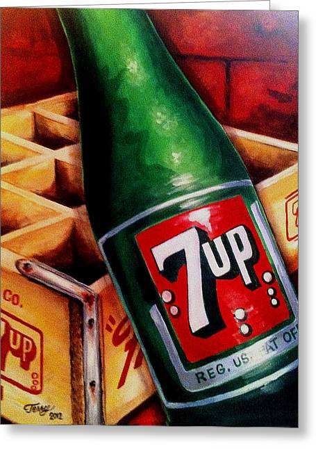 Vintage 7up Bottle Greeting Card by Terry J Marks Sr