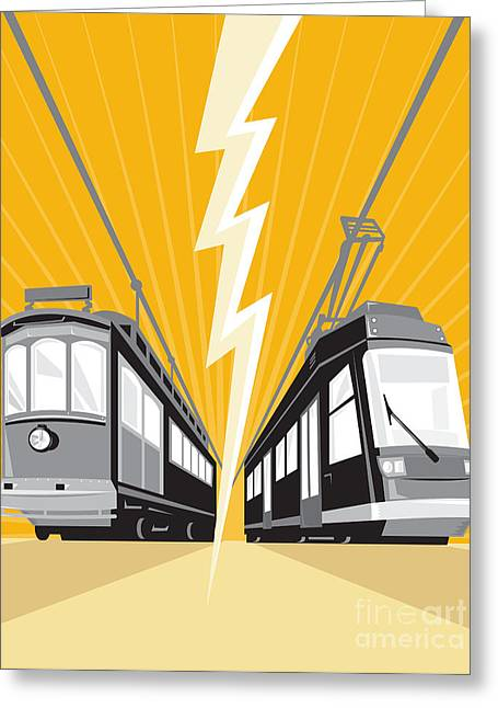 Vintage And Modern Streetcar Tram Train Greeting Card by Aloysius Patrimonio