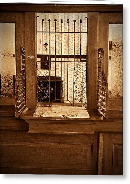 Greeting Card featuring the photograph Vintage Bank Teller Station by Valerie Garner