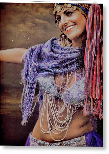 Vintage Belly Dancer Greeting Card by Chris Lord