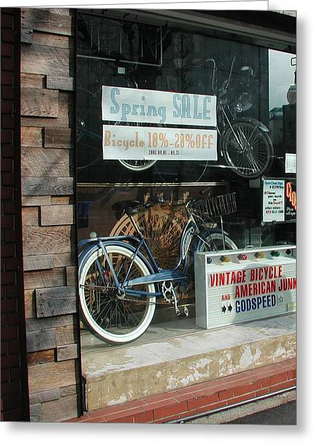 Vintage Bicycle And American Junk  Greeting Card