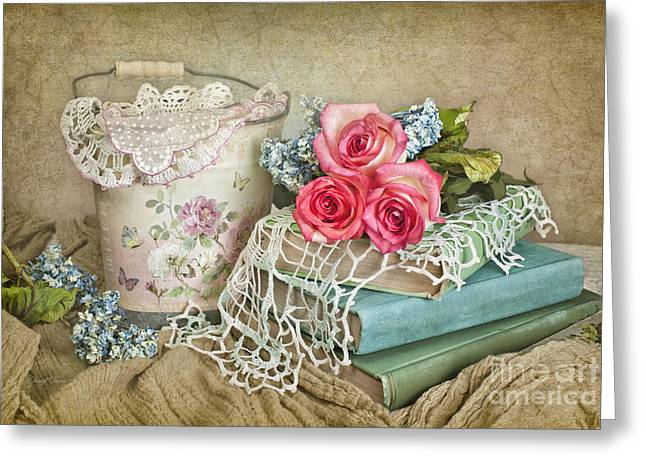 Vintage Books And Roses Greeting Card by Cheryl Davis