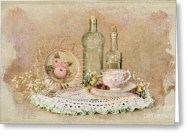Vintage Bottles And Teacup Still-life Greeting Card by Cheryl Davis