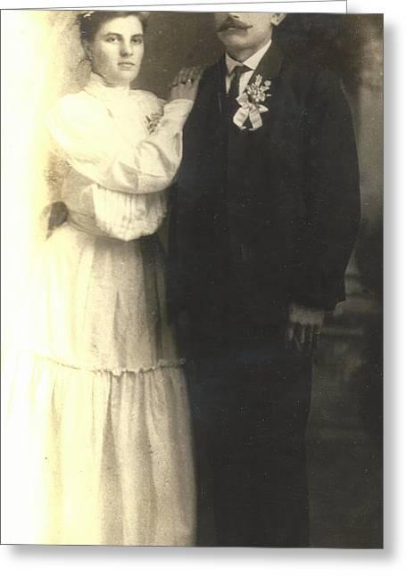 Vintage Bride And Groom Greeting Card by Alan Espasandin
