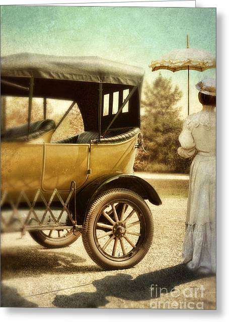 Vintage Car And Lady With Parasol Greeting Card by Jill Battaglia
