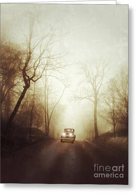 Vintage Car On Foggy Rural Road Greeting Card by Jill Battaglia