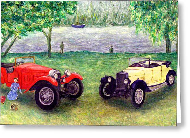 Vintage Car Picnic Greeting Card by Ronald Haber