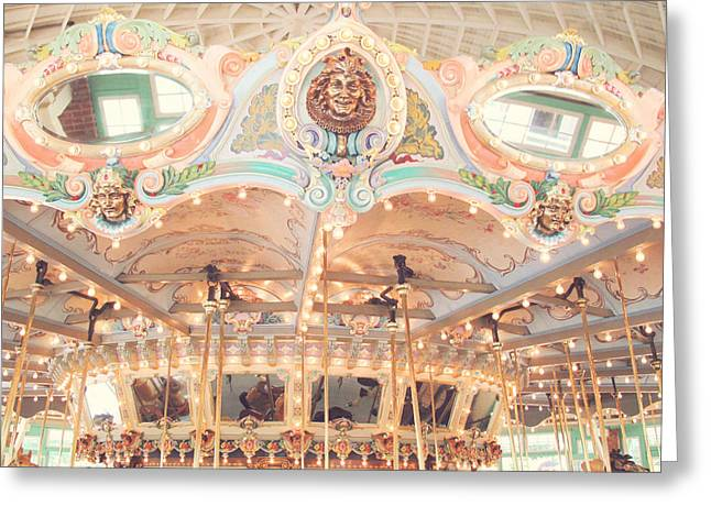 Vintage Carousel Greeting Card by Carole Rockman