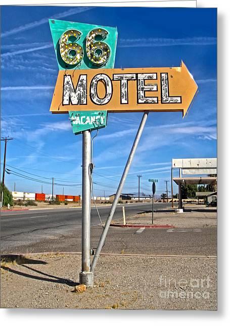 Vintage Desert Motel Sign Greeting Card by Gregory Dyer