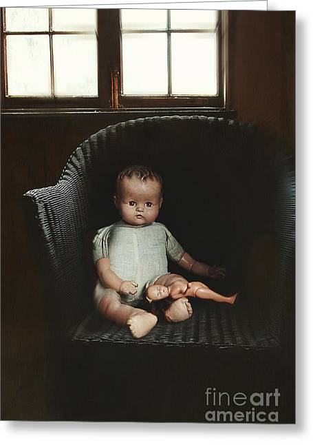 Vintage Dolls On Chair In Dark Room Greeting Card by Sandra Cunningham