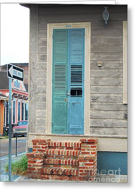 Vintage Dual Color Wooden Door And Brick Stoop French Quarter New Orleans Accented Edges Digital Art Greeting Card by Shawn O'Brien