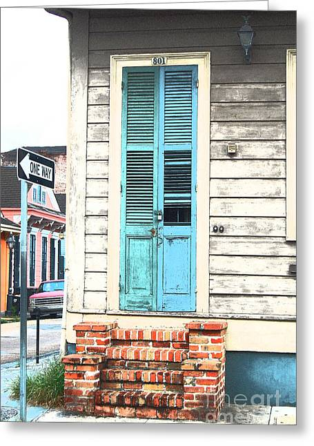 Vintage Dual Color Wooden Door And Brick Stoop French Quarter New Orleans Film Grain Digital Art Greeting Card