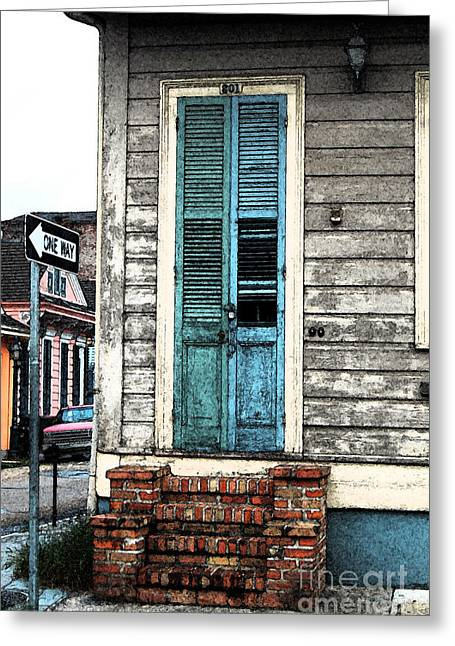 Vintage Dual Color Wooden Door And Brick Stoop French Quarter New Orleans Fresco Digital Art Greeting Card